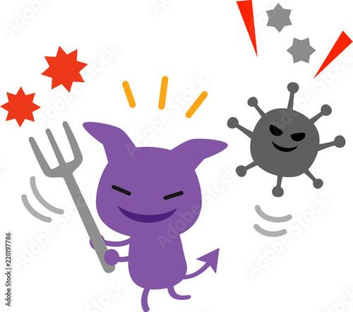 活発なウィルス、ばい菌のキャラクター Tableau sur Toile