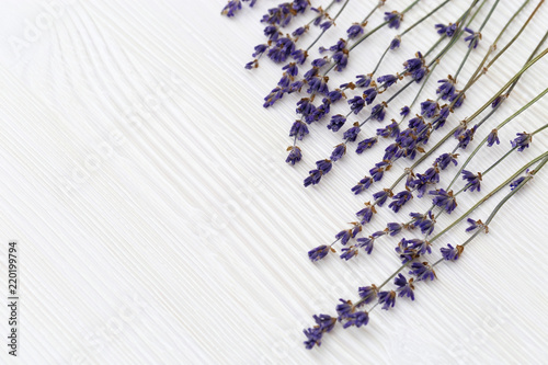 Dried flowers of lavender on white wooden background with copy space. Selective focus. Top view. Frame with lavander.