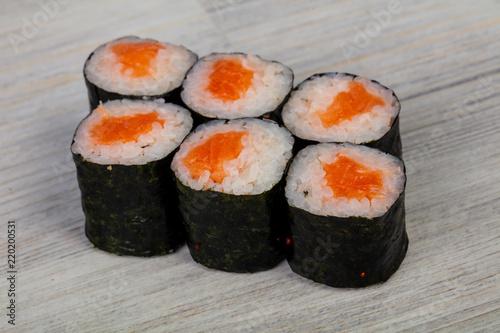 Printed kitchen splashbacks Sushi bar Japanese roll with salmon