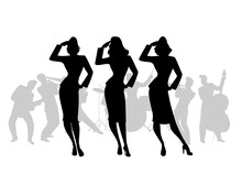 Silhouettes Of Three Army Girls In Retro Style Singing, Doing Military Salute. Swing Big Band On The Background