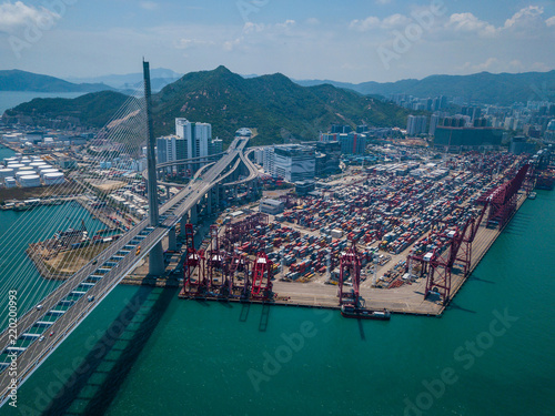 Foto op Canvas Poort Terminal container port in Hong Kong