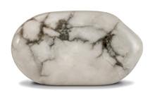 Polished  White Howlite Stone Isolated On White Background