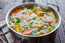 Hot Chicken And Vegetable Hearty Soup