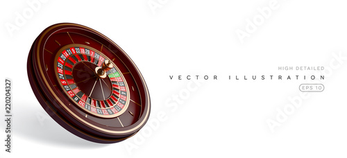Photographie  Casino roulette wheel isolated on white background