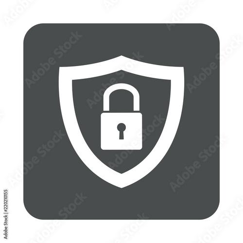Photographie  Icono plano escudo con candado en cuadrado gris