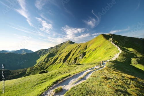 Trial to the peak in Carpathian Mountains in the morning