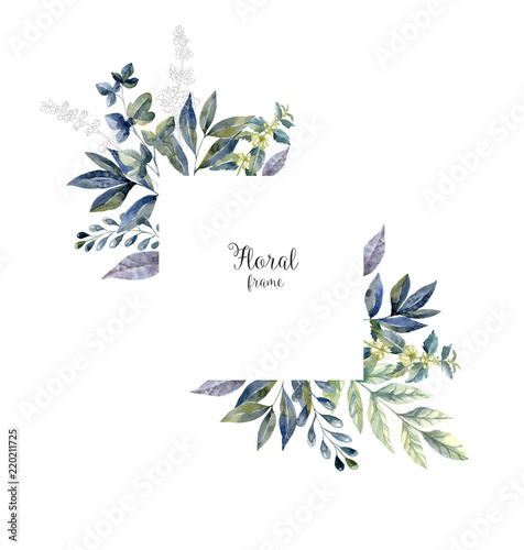 Foto op Canvas Bloemen Watercolor herbarium frame with flowers and forest leaf.