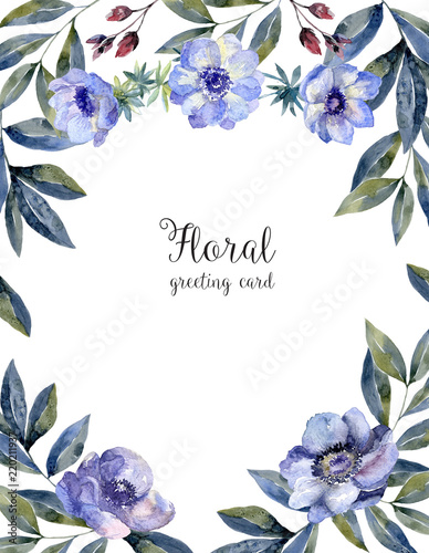 Fotobehang Bloemen Watercolor floral frame for greeting card cover