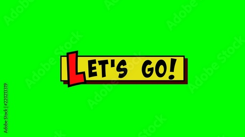 A comic strip yellow box with the text Let's Go popping up in red and black, cartoon-style Wallpaper Mural
