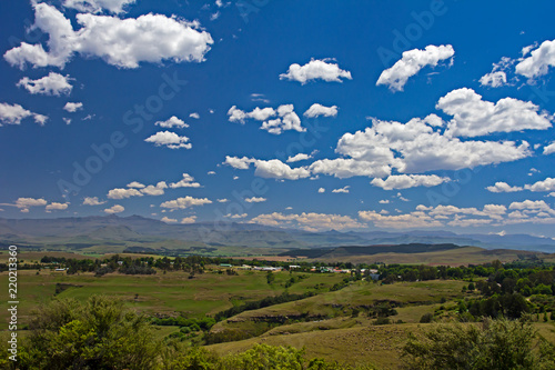 Fotobehang Landschap Landscape of farms and mountains in Eastern Cape