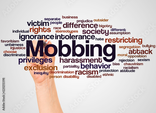 Photo Mobbing word cloud and hand with marker concept
