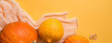Colorful Autumn Pattern Made Of Pumpkins, Leaves And Flowers. Flat Lay. Fall Concept