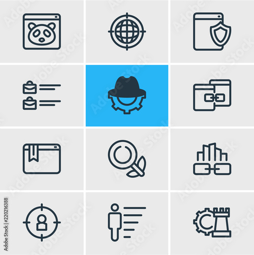 Vector illustration of 12 advertisement icons line style