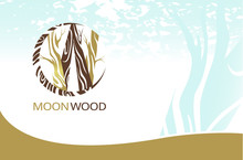 Template For The Brand Moon Wood Company. Corporate Business Card.  Template For Wood Factory, Wood Carvers, Wood Floor, Shop, Company, Bar. Element For Design Business Card, Banner, Brochure Template