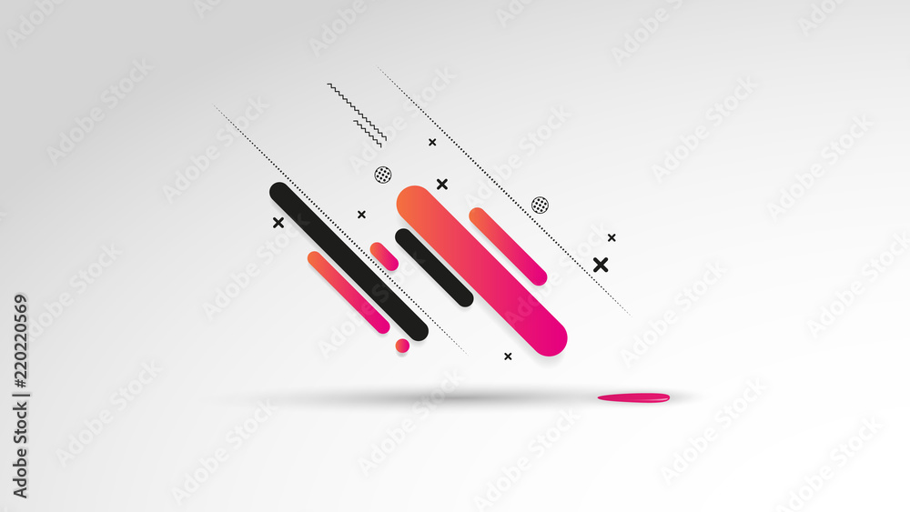 Fototapety, obrazy: Abstract background with dynamic linear waves. Vector illustration in flat minimalistic style