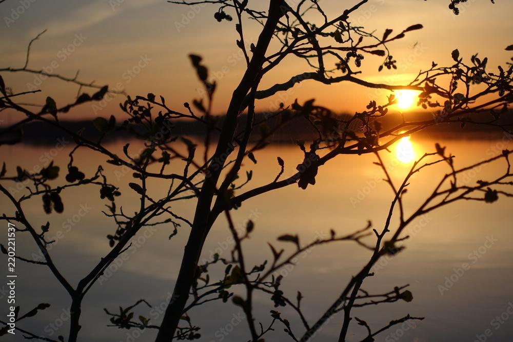 Jezioro zachód wschód słońca kaszuby bory