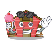 With Ice Cream A Red Barn House Character Cartoon