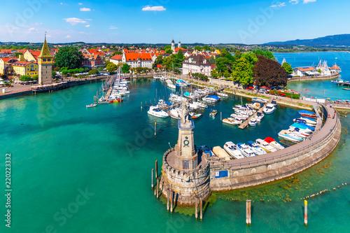 Spoed Foto op Canvas Europa Aerial view of Lindau, Bodensee, Germany