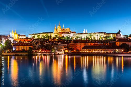 Deurstickers Centraal Europa Evening scenery of Prague, Czech Republic