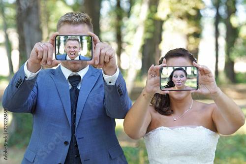 Fotografie, Obraz  lustige Hochzeitsselfies