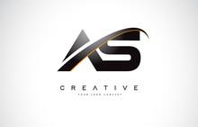 AS A S Swoosh Letter Logo Desi...