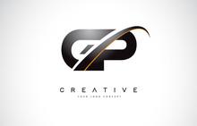 GP G P Swoosh Letter Logo Desi...