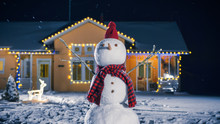 Funny Snowman Wearing Hat And ...