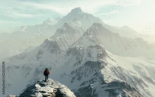 Fototapeta Conceptual image of a man hiker