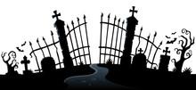 Cemetery Gate Silhouette Theme 2