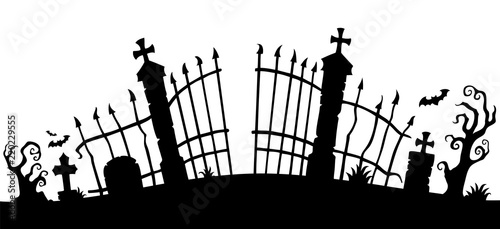 Wall Murals For Kids Cemetery gate silhouette theme 1