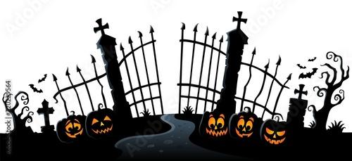 Foto op Canvas Voor kinderen Cemetery gate silhouette theme 3