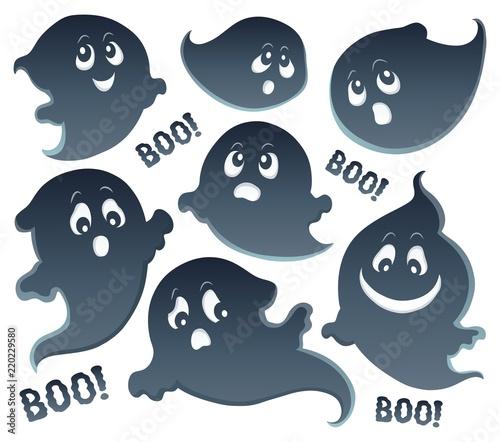 Foto op Canvas Voor kinderen Ghosts thematic set 5