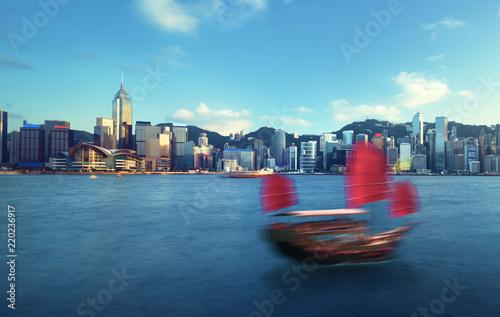 Staande foto Aziatische Plekken Hong Kong harbour, long exposition