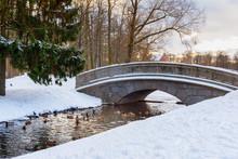 Bridge Over Canal In Catherine Park At Tsarskoe Selo In Winter. Pushkin. Saint Petersburg. Russia