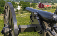 Cannon Overlooking A Farm At Gettysburg PA