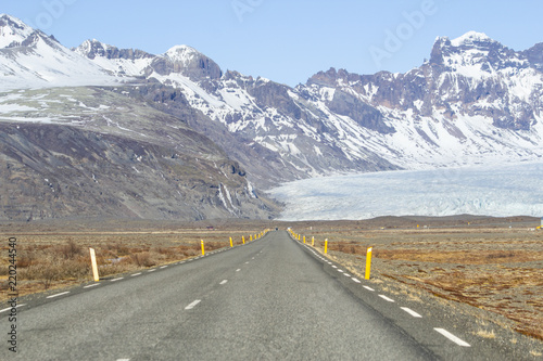 Fotobehang Natuur Park Driving on the road of Iceland. Beautiful landscapes during winter time.