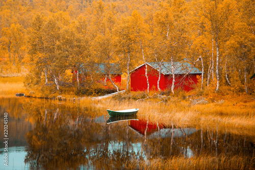 Photo Stands Autumn Finland. Fall scene.