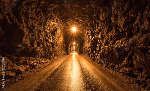 Dark tunnel in the mountain