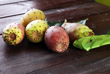 Fruits Of The Prickly Pear Cactus On A Rustic Table.
