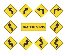 Traffic Signs Set, Road Signs Collection Flat Design