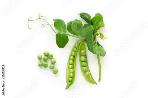 Isolated sweet green peas. Top view. White background.