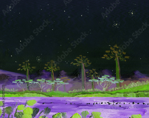 Foto op Aluminium Zwart Lake with tropical trees on the shore and birds on the surface of the water. Night landscape starry night. In the background are the mountains. Oil painting and digital technologies.