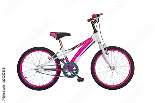 pink bicycle isolated on white background