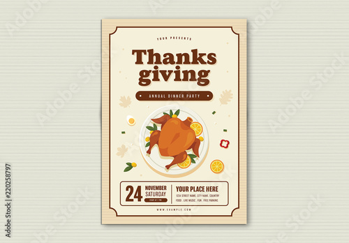thanksgiving dinner party flyer layout buy this stock template and