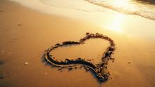 Hart Shape Drawn On Beach Sand...