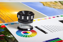 Print Loupe On Offset Printed Sheet With Basic Colors Controll Bars
