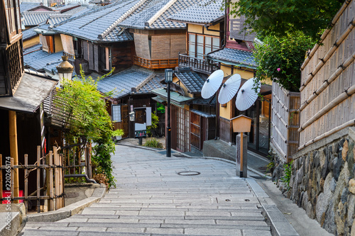 traditional old street of higashiyama district in kyoto, Japan