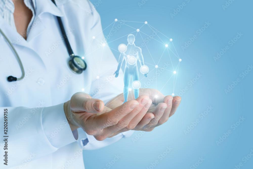 Fototapeta Health worker shows the main symptoms .