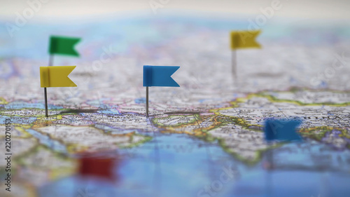 Fotografía  Locations marked with pins on world map, global communication network, closeup