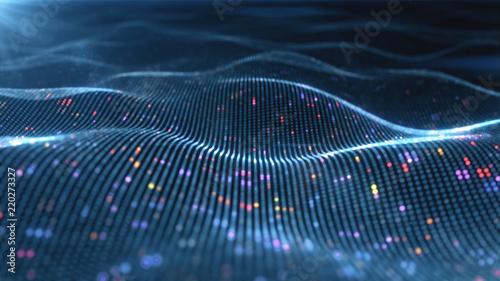 Fotografia  Abstract glowing virtual neural network